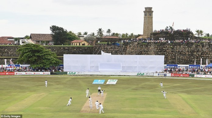 The English captain Joe Root is shot by Rangana Herath from Sri Lanka against the breathtaking backdrop of Fort Galle Fort when the test series between the two nations began on Tuesday