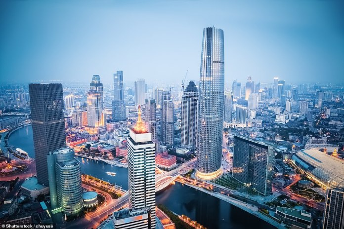 Tianjin (its financial district is pictured) has a population of about 15 million and its district covers 4,200 square kilometers