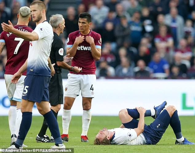 Experts say that the number of injuries English football players have suffered has increased since the late 1990s. This could be because they have to play more often or work harder (Picture: Harry Kane of Tottenham Hotspur holds his leg in a match against West Ham)