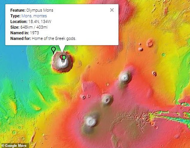 The map shows the surface of the planet and points to mountains, volcanoes, craters and spacecraft. It includes iconic landmarks such as the Olympus Mons, the highest mountain in the solar system