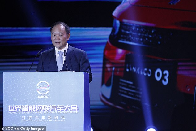 """Chairman of Geely, Li Shufu (pictured), said the company needed to """"innovate on its own"""" and build its own Hyperloop technology. Several startups around the world are trying to make the technology a reality"""