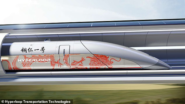 Pictured is a mockup of Hyperloop Transportation Technologies' high-speed rail system set to arrive in asouthern Chinese city. Geely and CASIC's design will take after this, using magnetic levitation to eliminate ground friction and vacuum tubes to reduce air resistance