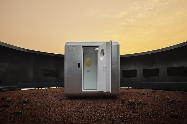 "It is a compact, self-contained living space with a length of only 7.8 feet, a width of 7.8 feet and a height of 6.5 feet. A square base connected to the ""living bubble"" serves as a door to enter and exit the structure"