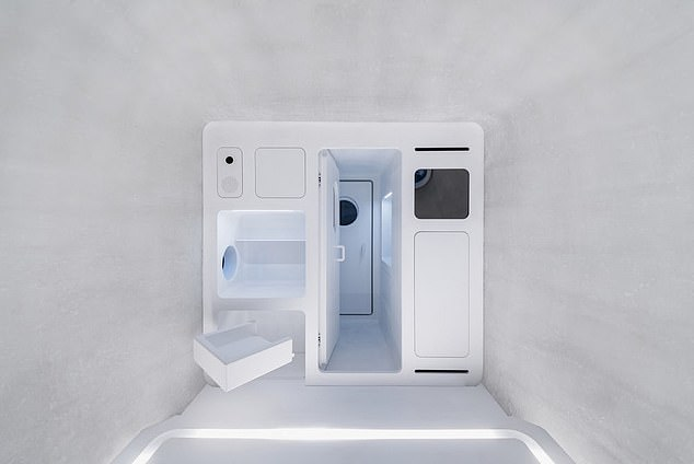 Smartphones, such as those from Xiaomi, can be used to control devices and other features such as home lighting. Shown is a reproduction of a living area in the structure
