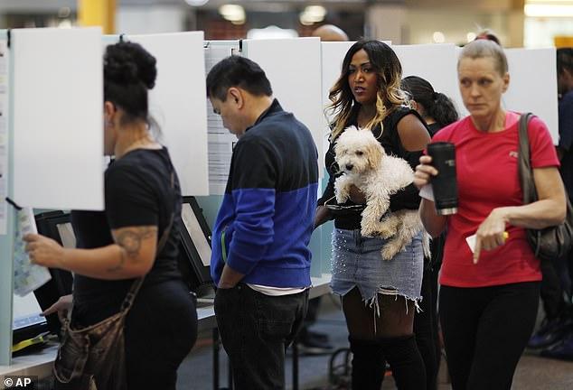 Latoya Gresham holds her dog Cash as she votes at a mall Tuesday, Nov. 6, 2018, in Henderson, Nevada