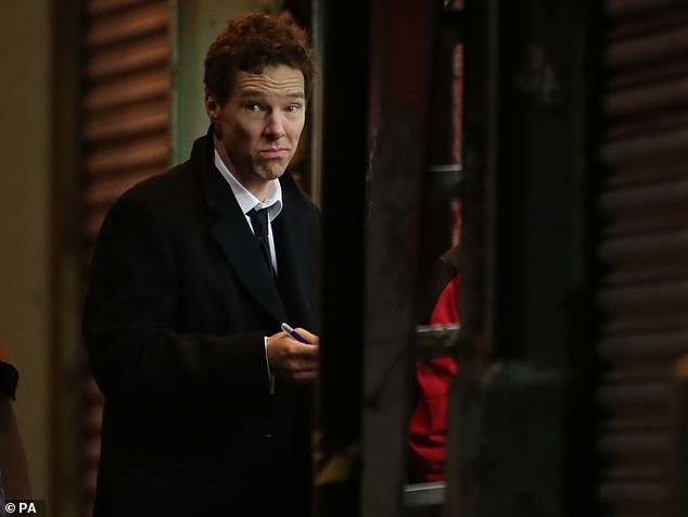 Actor Benedict Cumberbatch (pictured) shooting scenes in Glasgow's famous Barras market, which has been transformed into New York City for the filming of the TV show Melrose