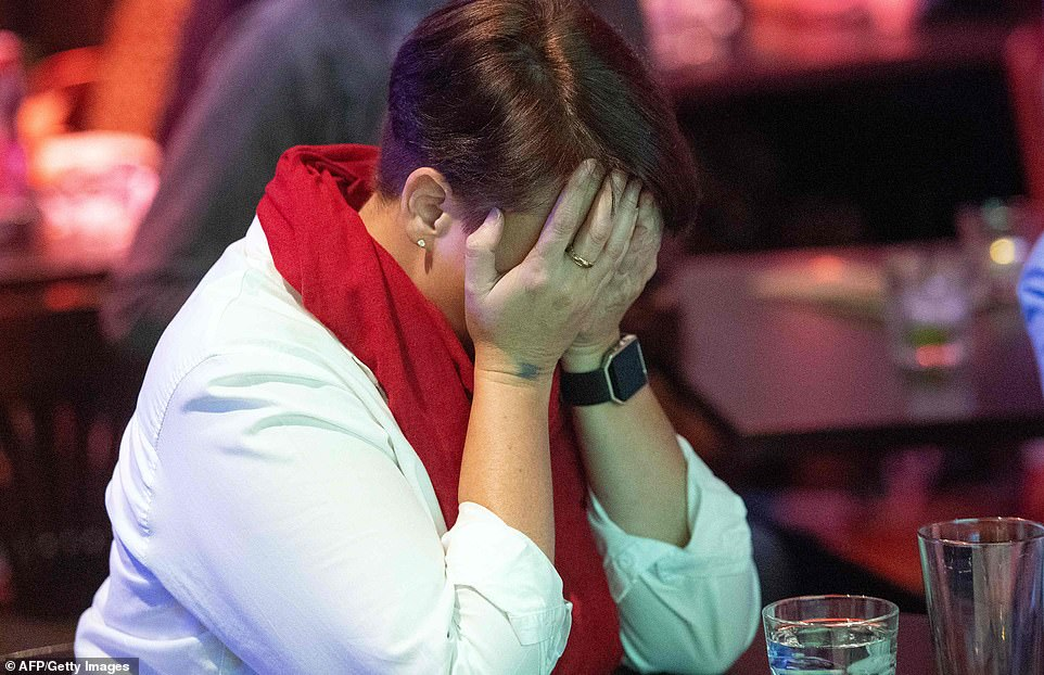 A Democrat supporter puts her head in her hands as she learns that Republicans are projected to hold the Senate