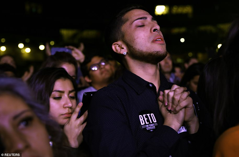 Supporters of Democrat Beto O'Rourke, who was running for the Senate in Texas, wait to hear the result. He ultimately lost the race to incumbent Republican Ted Cruz