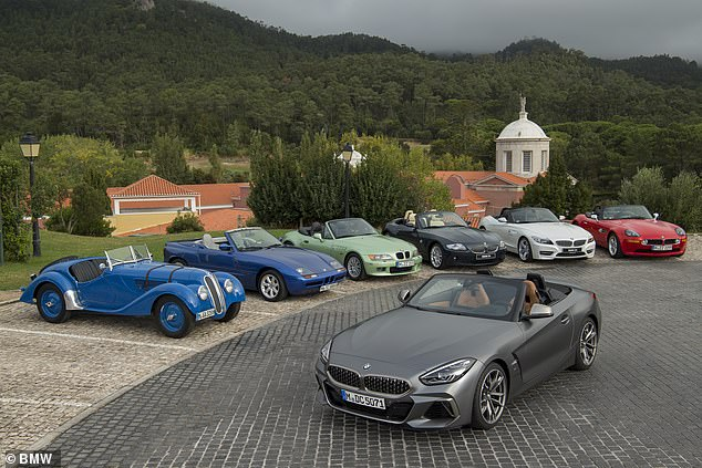 The new Z4 Roadster relies on generations of soft top heritage, including pre-war module 328 (far left) Z1 (second left), Z3 (third from left) and Z8 models (far right).