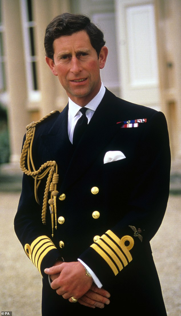 Prince of Wales wearing his new Royal Navy captain's uniform on his 40th birthday in 1988