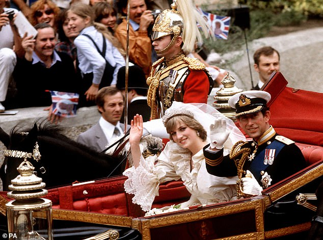 Prince Charles, pictured at the age of 32, and Diana pictured on their way to Buckingham Palace following their wedding in 1981