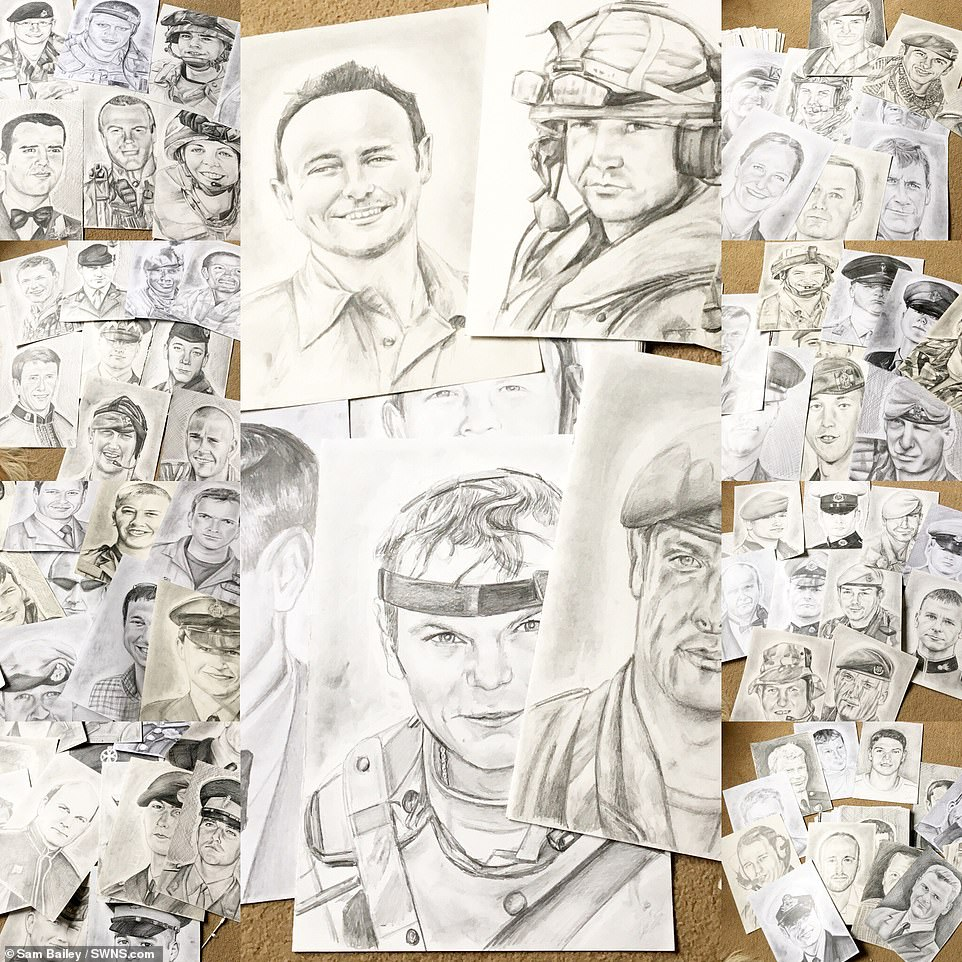 A compilation of the images Sam Bailey sketched which feature in her two books  - all of the proceeds of which will go to the Royal British Legion