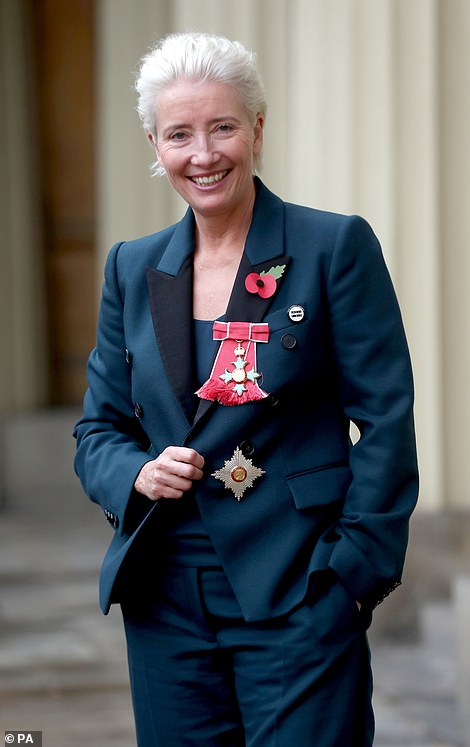 To demonstrate: Emma proudly displayed her gong after being named Lady Commander of the Order of the British Empire