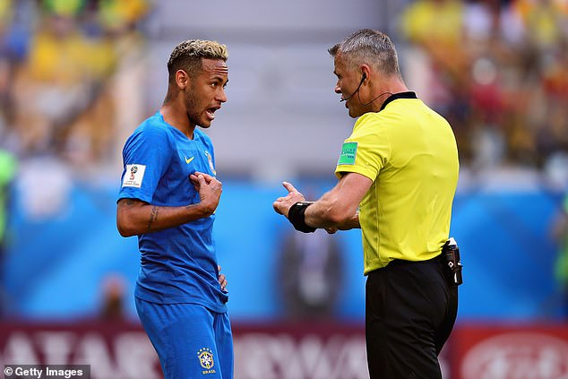 Neymar argued with referee Kuipers after believing he deserved a penalty against Costa Rica