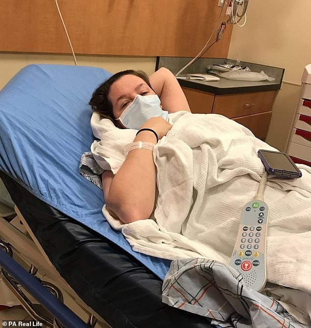 Ms. Dlugasch, who works as a nurse, has been affected by the flu despite being vaccinated against her. The doctors prescribed the drugs two days before Christmas. Above, when he was in the hospital with sepsis