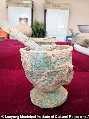 The identity of the tomb's owner remain unknown, but researcherssay the tomb likely belonged to a high-level government official judging from the relics (pictured) they found