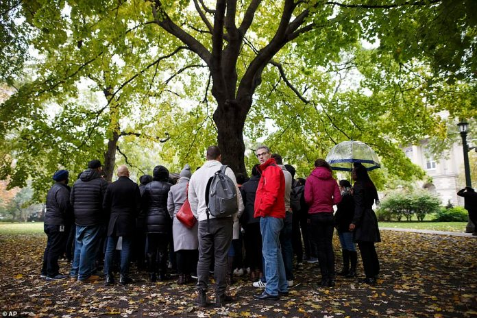 Google employees gather under a tree as others read from a list of personal accounts during a walkout in Toronto on Thursday