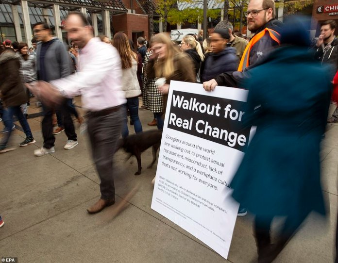 "A Silicon Valley congressman tweeted her support for the Google walkout with the hashtag # MeToo, which now stands for a global move to tackle sexual misconduct. Google employees who traveled to Cambridge on Thursday wear a sign with the name of their ""Walkout for Real Change"" demonstration."