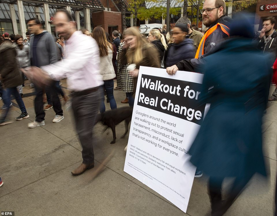 """A Silicon Valley congressman tweeted her support for the Google walkout with the hashtag # MeToo, which now stands for a global move to tackle sexual misconduct. Google employees who traveled to Cambridge on Thursday wear a sign with the name of their """"Walkout for Real Change"""" demonstration."""