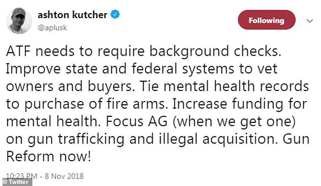 Kutcher said the Bureau of Alcohol, Tobacco, Firearms and Explosives should attach more importance to the background checks