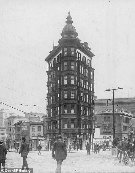 The Sentinel Building, also known as the Columbus Tower, depicted in 1915