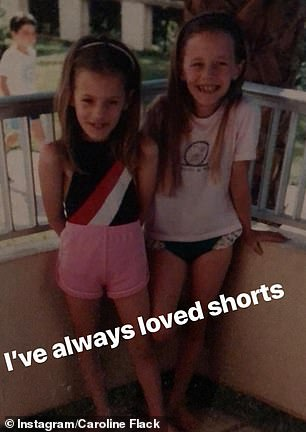 Adorable: In one snap she wrote: 'I always loved shorts', while standing outside