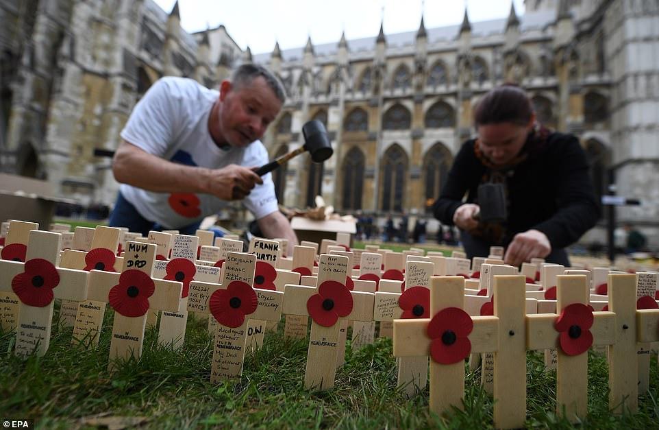 Des volontaires plantent des dizaines de milliers de croix de pavot dans le champ du souvenir de l'abbaye de Westminster