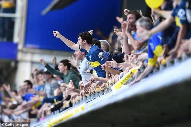 Boca Juniors gesticulate during a game at their home in Buenos Aires earlier this year