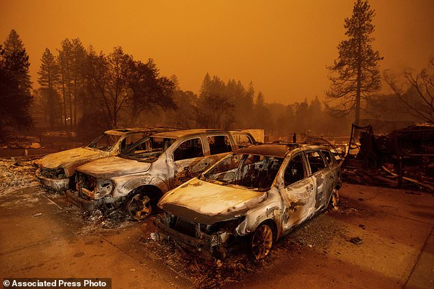 Scorched vehicles line at a wildfire burned through Paradise, Calif., On Friday, Nov. 9, 2018. (AP Photo / Noah Berger)