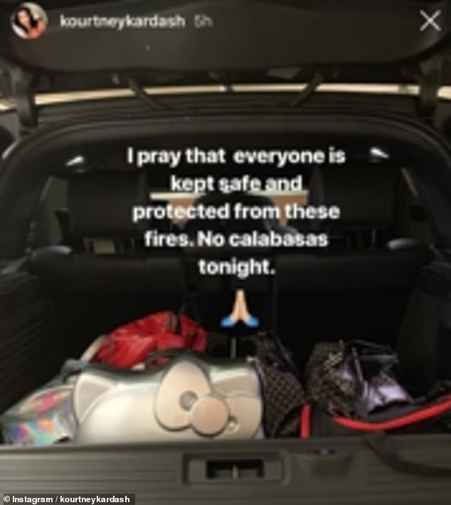 Kourtney Kardashian shared an Instagram story of her belongings in the back of her car as she headed off to sister Kendall's house while she was away in New York