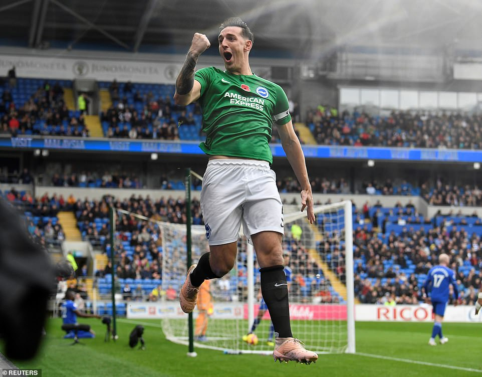 Brighton had gone ahead to Cardiff City Stadium thanks to a goal from defender Lewis Dunk