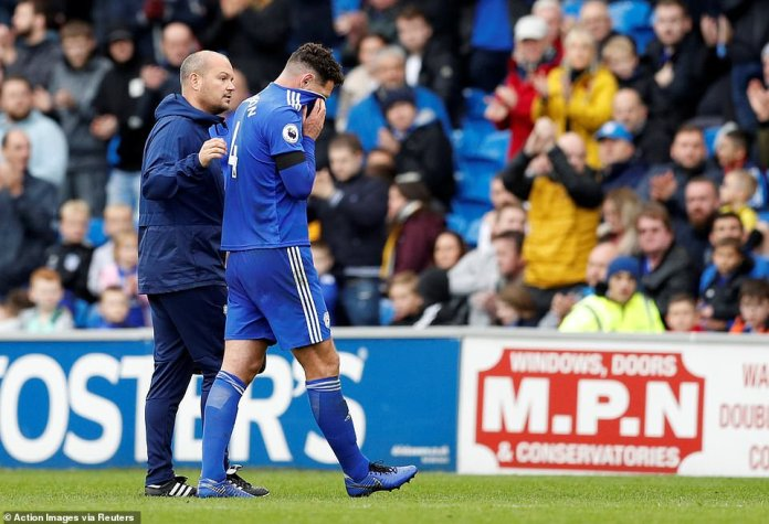 Cardiff defender Sean Morrison must leave the playing field with complaints of blurred vision after head-on collisions