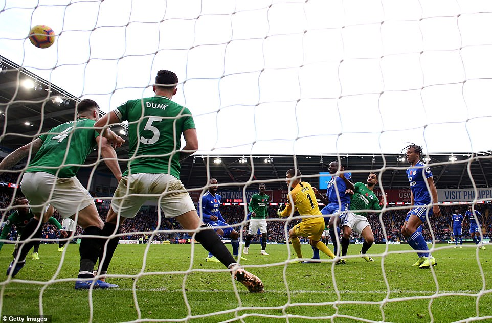 The Cardiff defender reacted the quickest after the ball rebounded from the crossbar to get into the net