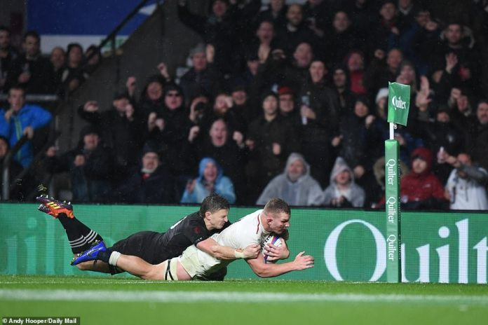 Sam Underhill touched the ground and seemed to have won the game for England, but was refused by referee Jerome Garces