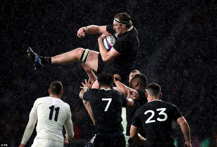 New Zealander Brodie Retallick wins the line-out ball during the tough test match the All Blacks won on Saturday between 16 and 15