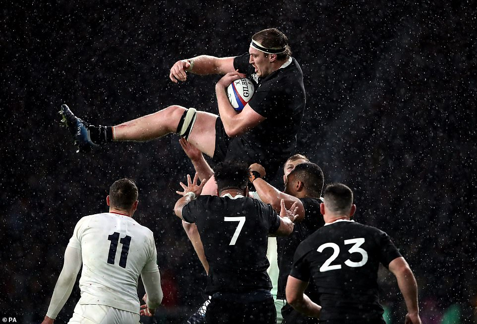 New Zealand's Brodie Retallick wins the lineout during the tight test match the All Blacks won Saturday 16-15