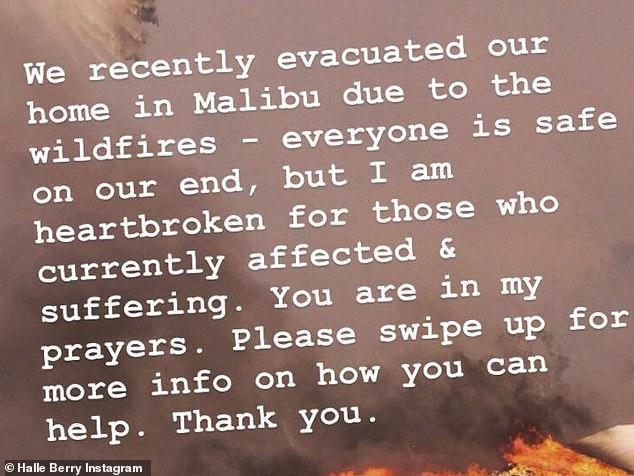 She left too: Halle Berry said she was evacuating her Malibu home as well