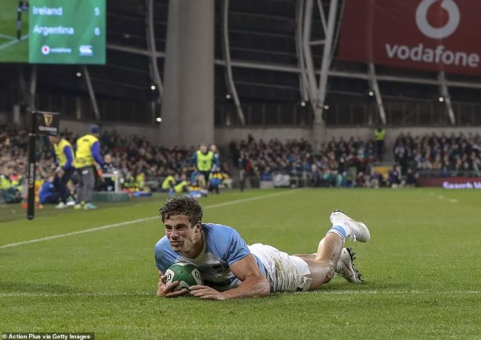 Bautista Delguy dives to score an attempt for Argentina, but Ireland later managed to take control of the game
