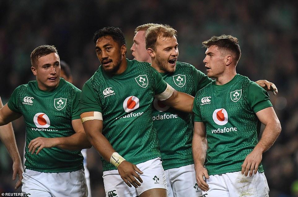 The Irish players were thrilled when McGrath scored their third attempt
