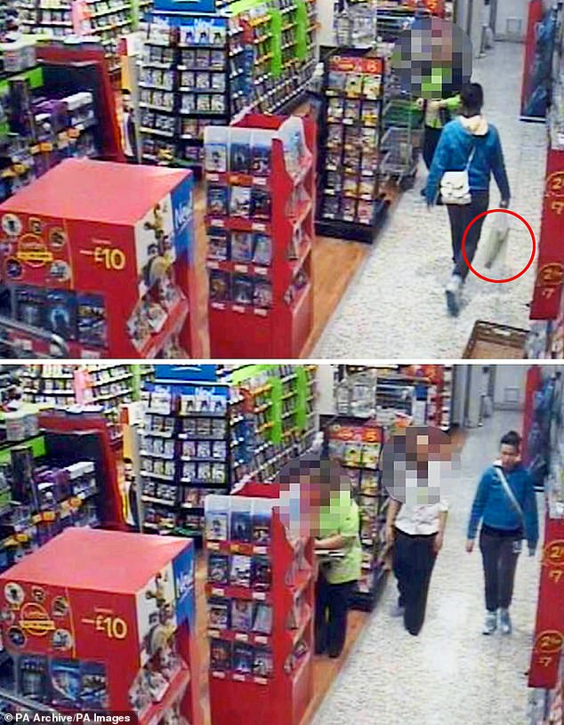 Edgington (pictured in blue) had been caught on CCTV purchasing a knife from a supermarket - that she then used in another attack