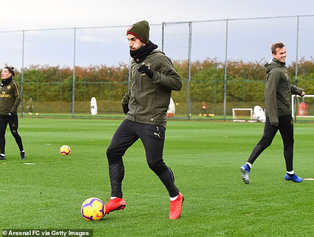 Henrikh Mkhitaryan, training on Saturday in the picture, is satisfied with Arsenal's progress