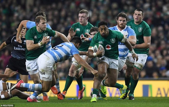 Bundee Aki in action for Ireland while trying to make a big impact for his team against Argentina