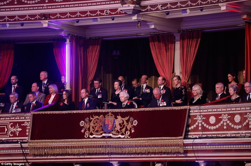 The Royal Family are pictured on the balcony as they take their seats and wait for the show to begin, Tom Jones was one of the performers to entertain the Royals