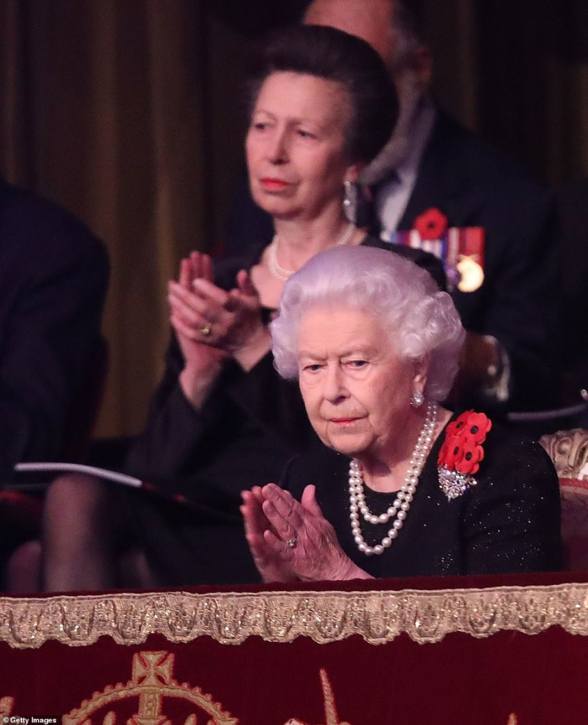 Queen Elizabeth II and Princess Anne, Princess Royal behind her applaud the performances at the Albert Hall tonight