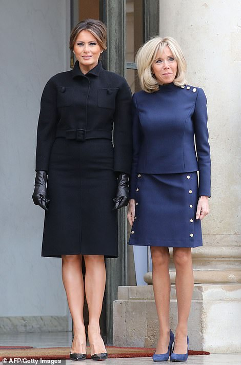 Melania Trump arrives at the Elysee Palace in Paris on Saturday for a meeting with Brigitte Macron