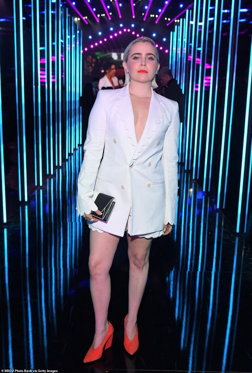 Star power: Mae Whitman rocked orange heels with a white blazer and coordinating shorts