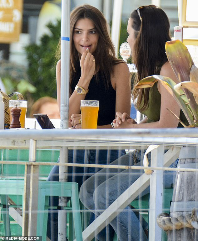 Bling:During the outing, the brunette beauty also flashed her giant diamond engagement ring and gold wedding band from her husband Sebastian Bear-McClard