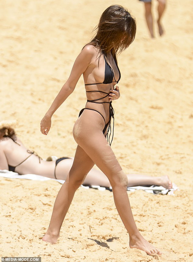 Risqué: Emily's bikini put her at risk of getting some very awkward tan lines