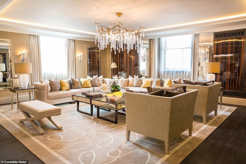 The main reception room inside the private residence within the Cornithia Hotel in London, which has gone on the market for £11.25million