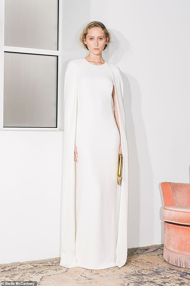 Stella's new bridal collection also includes a striking cape dress, similar in style to previous dresses by the designer worn by Meghan